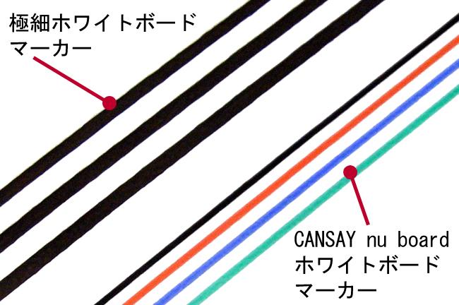 極細マーカーとnu boardマーカーの線の太さを比較した写真