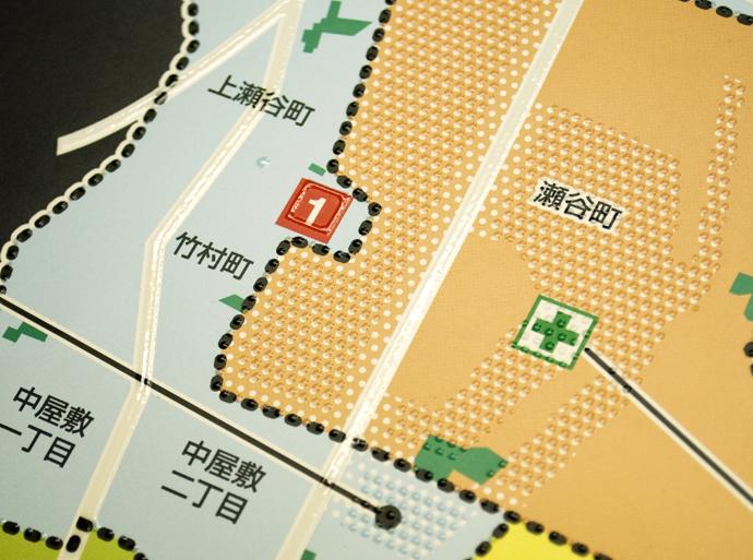横浜市瀬谷区「福祉防災マップ」触知図のアップの画像