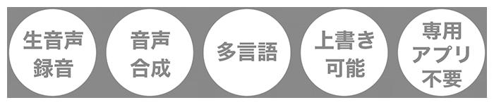 商品の特長(生音声録音、音声合成、多言語、上書き可能、アプリ不要)